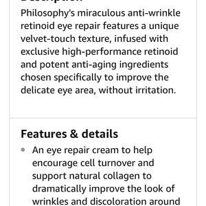 Philosophy Other - Philosophy miracle worker face and eye treatment.